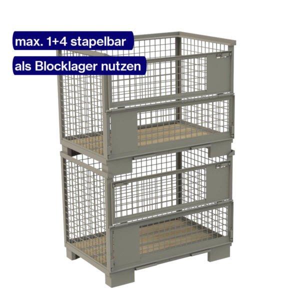 Gestapelte Gitterboxen als Blocklager