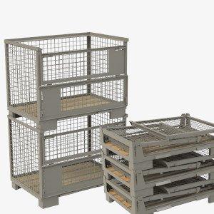 Gestaplte Gitterboxen und zusammengefaltete Gitterboxen