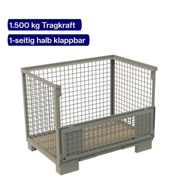 Gitterboxpalette mit einer halb klappbaren Langseite