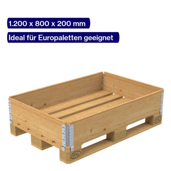 Holzaufsatzrahmen aufgeklappt auf Europalette
