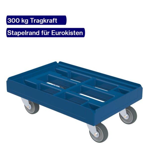 Blauer Transportroller 300 kg für Eurokaesten