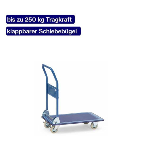 Plattformwagen aus Ganzstahl mit max. 250 kg und klappbarem Bügel