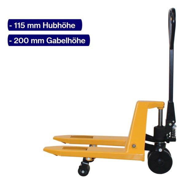 Handhubwagen für Halbpaletten mit 600 mm Gabellänge und angehobenem Hub