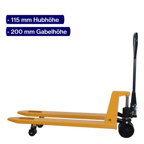 Handhubwagen für Paletten mit 1150 mm Gabellänge 2000 kg Traglast und angehobenem Hub