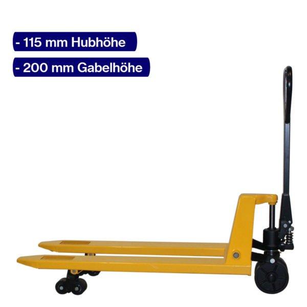 Handhubwagen für Paletten mit 1150 mm Gabellänge und angehobenem Hub