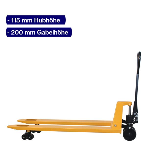 Handhubwagen für Paletten mit 1500 mm Gabellänge und angehobenem Hub