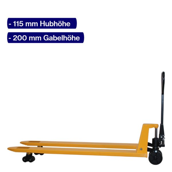 Handhubwagen für Paletten mit 1800 mm Gabellänge und angehobenem Hub