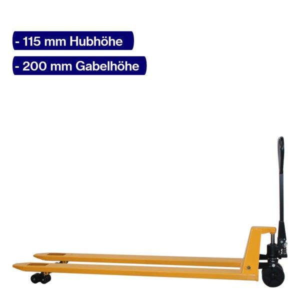 Handhubwagen für Paletten mit 2000 mm Gabellänge und angehobenem Hub