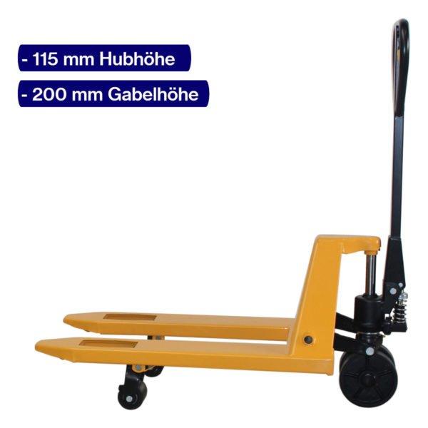 Handhubwagen für Paletten mit 800 mm Gabellänge und angehobenem Hub