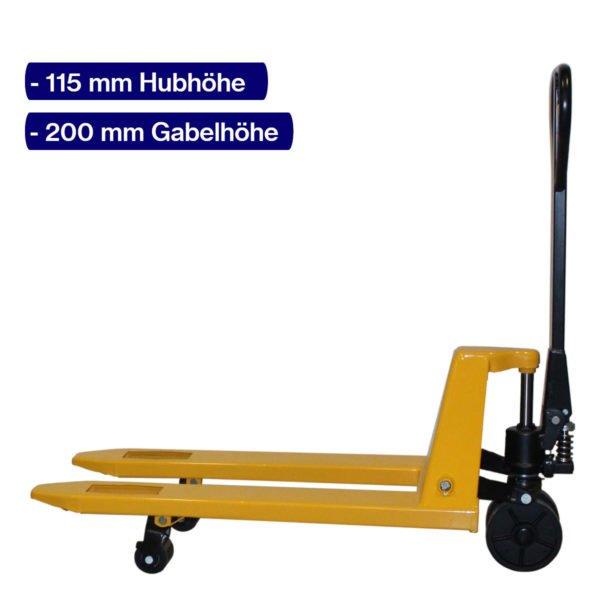 Handhubwagen für Paletten mit 950 mm Gabellänge und angehobenem Hub