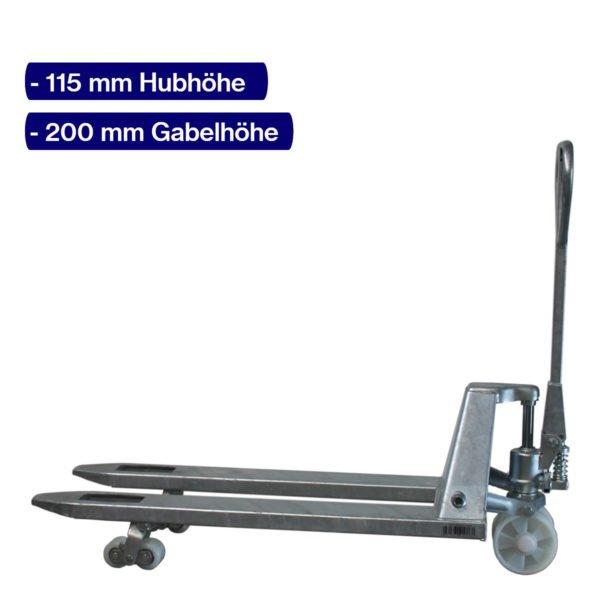 Handhubwagen verzinkt für Paletten mit 1150 mm Gabellänge und angehobenem Hub