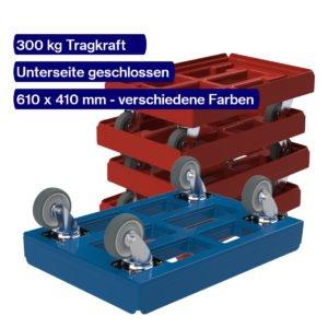 Transportroller 610 x 410 mm 300 kg hygienisch mit geschlossener Unterseite und platzsparend gestapelt