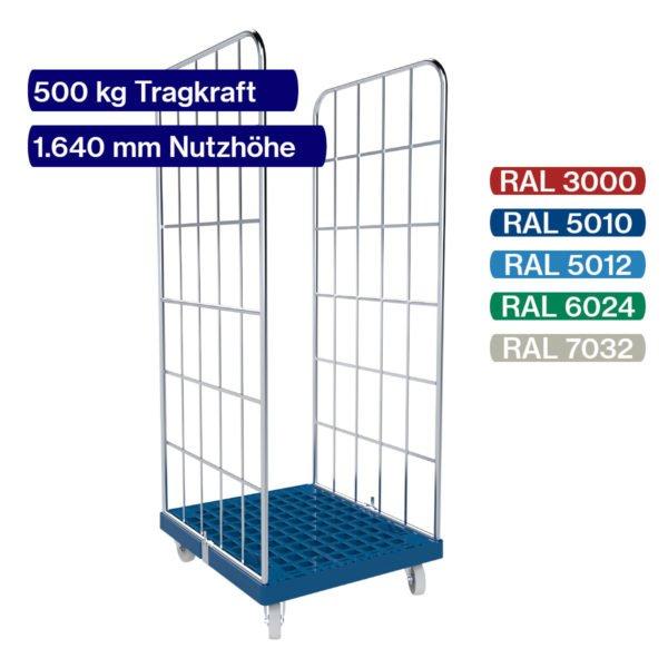 Blauer Rollbehälter mit 500 kg - 2 seitig - 1650 mm mit Daten und Farbpalette