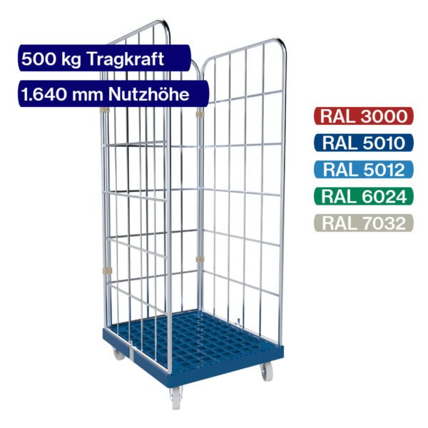 Rollbehälter blau 500 kg - 3 seitig - 1650 mm mit Daten und Farbpalette