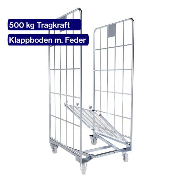 Rollbehälter nestbar - Klappboden mit Federmechanismus
