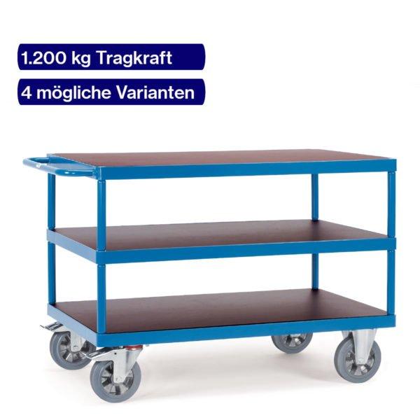 Schwerlast-Tischwagen bis 1200 kg mit 3 Böden