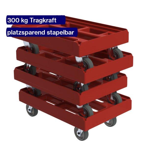 4 gestapelte rote Transportroller für Eurokisten