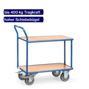 Tischwagen bis 400 kg mit hohem Bügel und 2 Holzböden