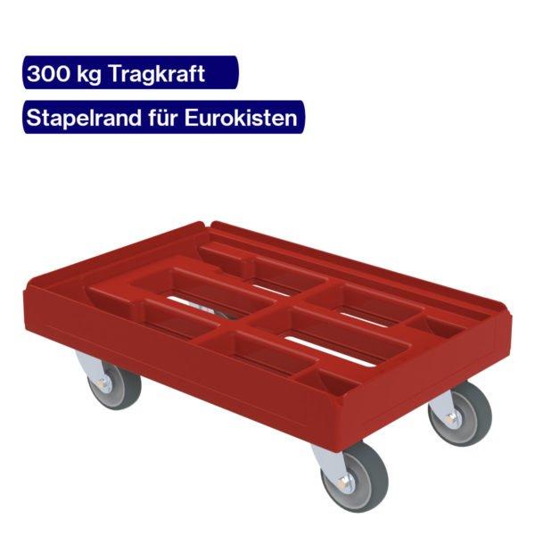 Transportroller mit Stapelrand für Eurokisten in rot
