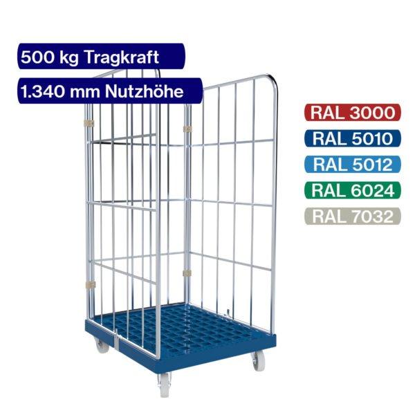 Rollbehälter mit 500 kg - 3 seitig - 1350 mm