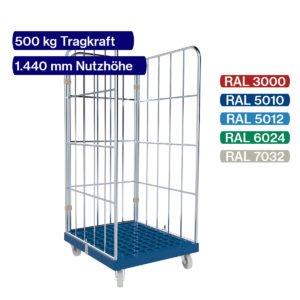 Rollbehälter mit 500 kg - 3 seitig - 1450 mm
