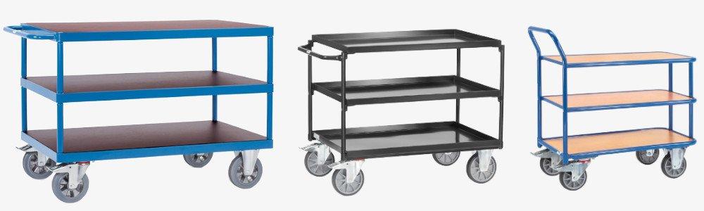 Verschiedene Tischwagen in einer Übersicht