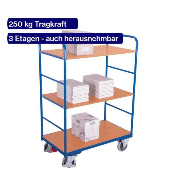Mit Büromaterial befüllter Etagenwagen