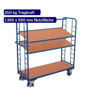 Transportwagen mit neigbaren Etagen in 1355 x 550 mm
